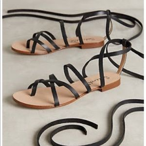 Anthro. splendid black lace up sandals ❤️❤️